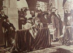 El Presidente Figueroa Alcorta y la Infanta de Borbón durante la bendición de los pabellones de España de la gran Exposición Artística e Industrial en Palermo.