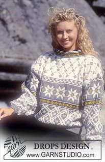 DROPS 32-22 - DROPS Sweater in Karisma Superwash with stars and rose squares - Free pattern by DROPS Design