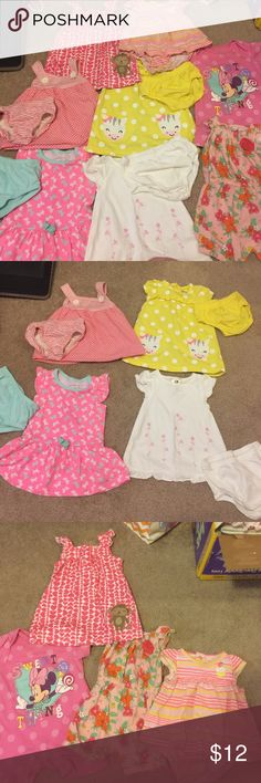 3-6 Short Sleeve Dress Lot. 3-6 Girl Lot. 4 Dress with matching bloomers, 1 dress w/o bloomers, 3 Button Up bottom outfits! So total of 8 pieces! Dresses Casual