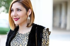 Blame it on Mei Miami Fashion Blogger 2016 Thanksgiving Look Holiday Outfit Animal Print Dress Louboutin Iriza Patent YSL Velvet Clutch Chandelier Earrings What to wear for Thanksgiving How to wear a faux fur vest