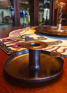 Karl Kipp hammered copper candlestick |  Roycroft | Arts and Crafts