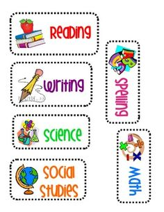 Subject labels perfect for the white board!With pictures for all learners - Education Subject Labels, Genre Labels, Notebook Labels, Bulletin Board Design, Classroom Labels, Classroom Ideas, First Day Of School Activities, School Labels, Teacher Boards