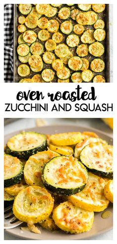 Oven Roasted Zucchini and Squash: a delicious and easy way to serve up some summer produce.  Sprinkled with a touch of seasoning on a bit of parmesan cheese these make a great summer side dish. #ovenroasted #zucchini #sidedish #recipe