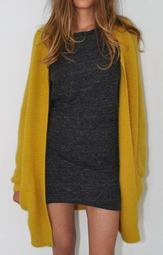 mini and mustard sweater