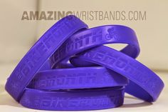 """Do you love the color Indigo? Can't decide between blue or purple for your custom wristbands? Indigo is the """"way to go""""! Order today, with no minimum from our Laser Debossed Wristbands section. Rubber Bracelets, Silicone Bracelets, Indigo Colour, Just Giving, Tool Design, Purple, Blue, Amazing, Fundraising"""