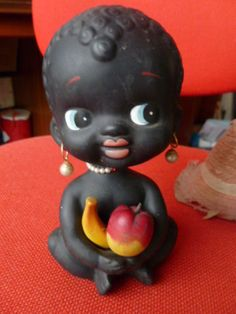VINTAGE-BLACK-doll-NEGRO-GIRL-NODDER-BANK-BOBBLE-HEAD-MONEY-BOX-BARSONY-ERA-AMER
