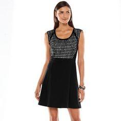Apt. 9® Lace Fit & Flare Ponte Dress - Women's