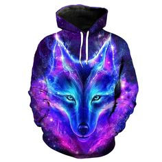 2019 New Fashion Space Galaxy Wolf Hoodie Hoodies Men Women Spring Autumn Pullover Sweatshirts Sweat Homme Tracksuit Hoodie Sweatshirts, Printed Sweatshirts, Galaxy Wolf, Wolf Hoodie, Sweat Shirt, Pulls, Wolf 3d, Galaxy Space, Long Sleeve