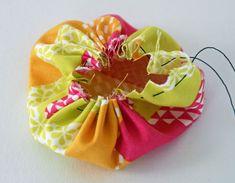 mason jar pin cushion, crafts, mason jars, Hand sew in a gathering stitch and pull thread up