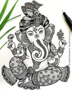 Abstract Pencil Drawings, Doodle Art Drawing, Cool Art Drawings, Mandala Drawing, Art Drawings Sketches, Mandala Art Lesson, Mandala Artwork, Doodle Art Designs, Ganesha Art