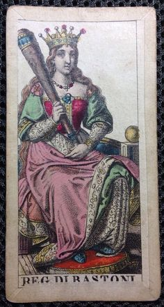 1835 Minor Arcana Engraved Fortuna Tarot Cards Playing Card Italy Queen Clubs | eBay