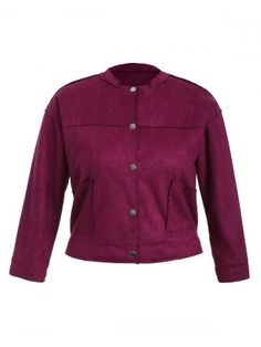GET $50 NOW   Join RoseGal: Get YOUR $50 NOW!http://www.rosegal.com/plus-size-outerwear/plus-size-button-up-suede-908746.html?seid=2275071rg908746