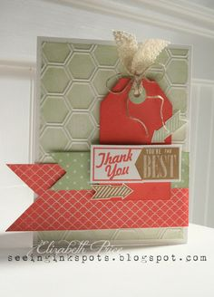Seeing Ink Spots -- Beautiful work by Elizabeth Price -- Hello Lovely stamp set; Honeycomb embossing folder