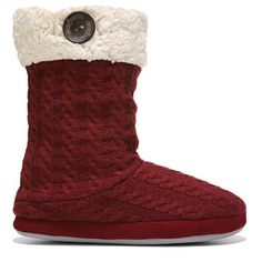 Dearfoams Women's Tall Knit Boot Slipper Accessories (Cabernet)