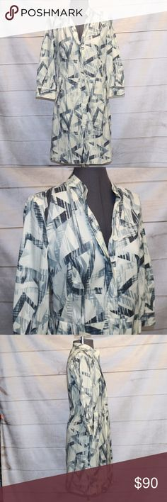 Armani Exchange Shirt Dress - 4 EUC Armani Exchange  Button Up Shirt Dress Pockets Grey, Cream, White There are loops for a belt but there is no belt A/X Armani Exchange Dresses