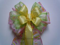 Pink Yellow Easter Eggs Decoration Bow by SimplyAdornmentsss