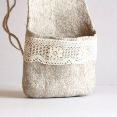 Hanging basket, kitchen basket, toys organizer, felted wool bag, natural beige eco friendly hanging bag - Valentine day gift