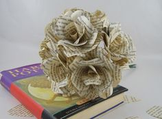 6 Harry Potter Roses, 6 Book Page Paper Flower Roses, Handmade Paper Roses, Harry Potter Wedding Flowers