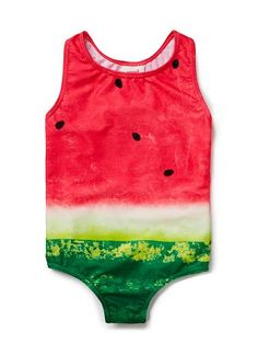 Nylon/Elastane blend Bather. Full bathing suit in all-over watermelon digital print with racer-back. UPF 50 rating. Neat fitting silhouette. Available in colour shown.