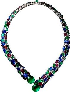 CARTIER HIGH JEWELRY NECKLACE Platinum, emeralds, rubies, sapphires, diamonds.