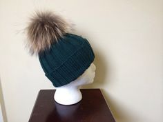 Deep Green Wool Beanie Hat  Natural Brown by HandmadeKnitsHats