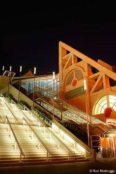 San Diego Convention Center - SDCC at night, I walked all the way to the top of these steps! OMG
