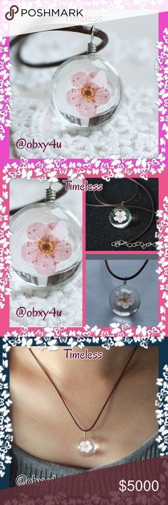 COMING SOON Preserved Peach Blossom Necklace I fell in love with this necklace when I first saw it. The peach blossom was dried, preserved and enclosed within this clear glass pendant. I believe the length is anywhere from 12 to 16 inches and it includes an attached extender. I will have exact measurements once it arrives, and will post that info. The necklace piece is that of leather or leather cord. So adorable!! Jewelry Necklaces