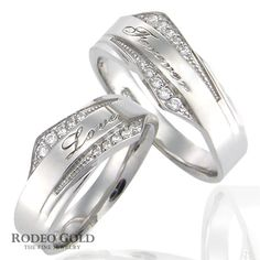 White gold wedding rings and the subtle carvings