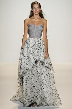Lela Rose: Mercedes-Benz Fashion Week S/S 2012.  I love the flowiness of this dress, and the sweetheart neckline!!!