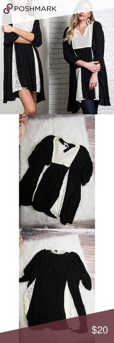 """Umgee Plus Black Baby Doll Lace Dress Lovely, black, laced dress with long sleeves. NWT. Great condition. No holes or stains.  Size: M Material: 60% cotton, 40% polyester Measurements: Bust """" 40"""", Length """"37 """"  **Feel free to message me asking any questions.  * All items are measured laying flat then doubled  * Comes from a smoke-free home Umgee Dresses"""