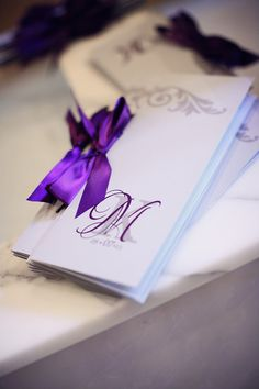 Monique & Kevin - Chic Purple & Pewter Wedding - Vendors LOVE the monogram! Pewter Wedding, Wedding Vendors, Weddings, Order Of Service, Wedding Inspiration, Wedding Ideas, December 2013, Custom Wedding Invitations, Wedding Colors