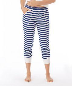 Loving this Blue Stripe Leggings - Women on #zulily! #zulilyfinds