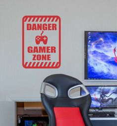 Vinyl Wall Lettering Danger Sign Gamer Zone Video Game Decal