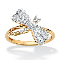 Diamond Accent 18k Yellow Gold Over Sterling Silver Dragonfly Ring on PalmBeach Jewelry
