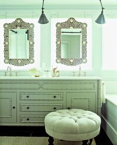 the beach house: casual coastal meets hollywood regency | Perfectly Imperfect™ Blog bathroom mirrors