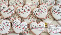 Thanks to for the inspiration for these cookies. You make my heart sing! Music Cookies, Heart Cookies, Iced Cookies, Cute Cookies, Royal Icing Cookies, Sugar Cookies, Valentines Day Cookies, Holiday Cookies, Easter Cookies