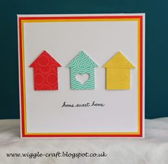 New Home Card using Stampin' Up! Punches and card. punch square for house. same square cut diagonal for roof. Welcome Home Cards, New Home Cards, Paper Cards, Diy Cards, Housewarming Card, Stampin Up Karten, Happy New Home, Scrapbook Cards, Scrapbooking