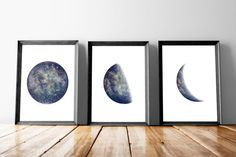 """Moon phase poster, Set of 3 A3 (11.7"""" x 16.5""""), Instant download moon prints, Space art poster, Printable poster"""