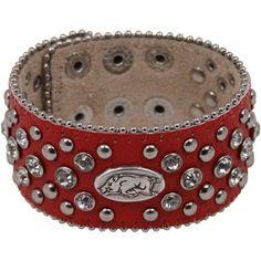 Arkansas Razorbacks Ladies Glitz Leather Cuff Bracelet - Cardinal
