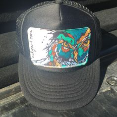 Monochrome Trucker Hat with Owl Patch
