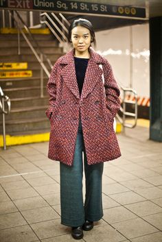 """25 Snaps Of The Subway's Most Stylish Commuters  #refinery29  http://www.refinery29.com/new-york-city-subway-street-style#slide16  Name: Wenice KongJob: StudentWhat She's Wearing: Forever 21 shirt, BABYGHOST pants, and a Zara coat.What is your must-have clothing item this winter? """"My knit coat."""""""