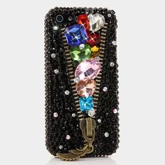 Bling Cases, Handmade 3D crystals Zipper design case for iphone 5, iphone 5s, iphone 6, Samsung Galaxy S4, S5, Note 2, Note 3, LG, HTC, Sony – LuxAddiction.com