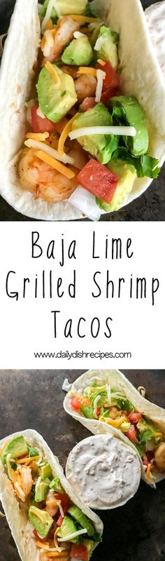 These tangy, spicy Baja Lime Grilled Shrimp Tacos are the perfect summer meal, light but filling - deliciously perfect anytime! via @dailydishrecipesdotcom