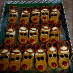 Rudolph Reindeer NutterButter Cookies. These are the cookies I made for my daughters school Christmas party last year.