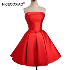 45542e1ca4b2 NICEOOXIAO Real Photo Evening Dresses Red Polyester Short Party Gowns  Fashion Strapless 2018 New Pockets Formal
