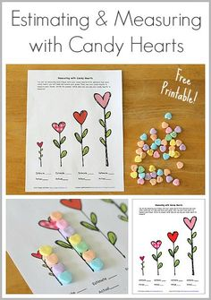 Perfect for a classroom Valentine's Day party- Estimating and Measuring with Candy Hearts (Free Printable Math Activity for Kids) - Buggy and Buddy