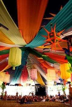 Looking at the big lanterns here, think they look cool especially alongside the draping- look easy and flatpack, and imagine with some nice indiany fabric