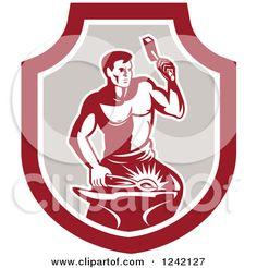 Free Vector Illustration, Working Man, Blacksmithing, Vector Free, Royalty, Clip Art, Retro, T Shirts, Blacksmith Shop