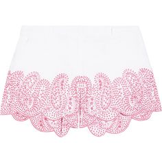 MICHAEL Michael Kors Broderie anglaise linen shorts (1.890.465 IDR) ❤ liked on Polyvore featuring shorts, clothes - bottom, white, linen shorts, white tailored shorts, michael michael kors, tailored shorts and white shorts