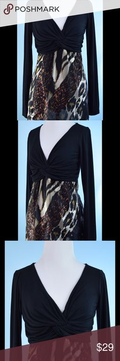 BOSTON PROPER animal print Sheer Hem tunic top S BOSTON PROPER black Ivory gold animal print Sheer Hem Detail, tunic top, Size Small, length 28 inches, bust 32 inches, silk and rayon, never worn! Boston Proper Tops